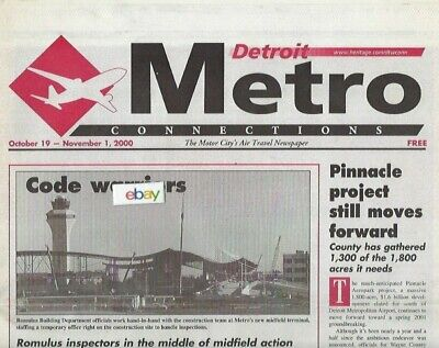 $9.99 • Buy Detroit Metro Airport Newspaper Nwa Midfield Terminal Progress 10/19/2000
