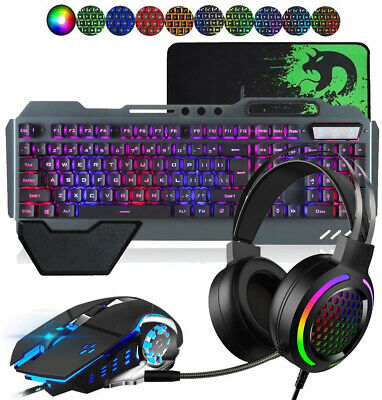 AU79.80 • Buy Gaming Keyboard Mouse And 7.1 RGB Headset Set Rainbow LED Wired For PC PS4 Xbox