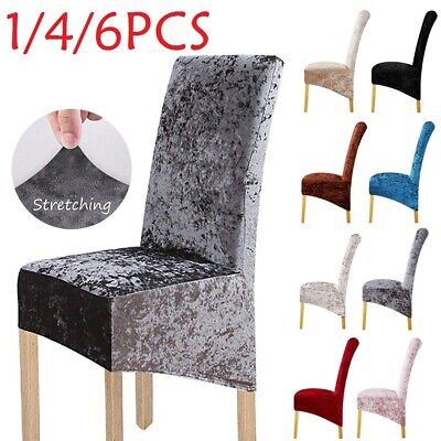Crushed Velvet Dining Chair Covers Stretchable Protective Slipcover Home Decor • 5.99£