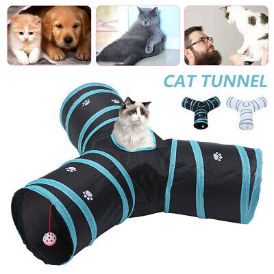 AU15.51 • Buy Pet Cat Toys Foldable Tunnel 3 Way Y-Shape Training Rabbit Play Tube W/ Hiarball