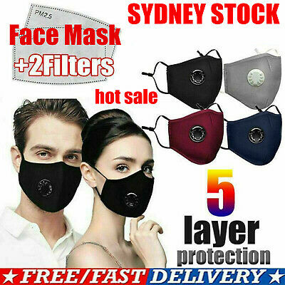 AU10.66 • Buy AU ! Washable Reusable PM2.5 Anti Air Pollution Face Mask With Value & 2 Filters