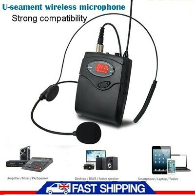 Cordless Wireless Head-Mounted Microphone MIC Headset Receiver Transmitter UK • 19.29£