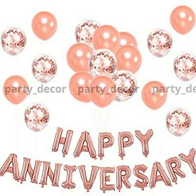 16  Gold Silver Happy Anniversary Foil Balloons Happy Sweet Wedding Baloons UK • 4.49£