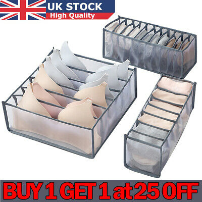 Underwear Socks Tie Storage Box Compartment Bra Organizer Drawer Closet Divider • 8.59£