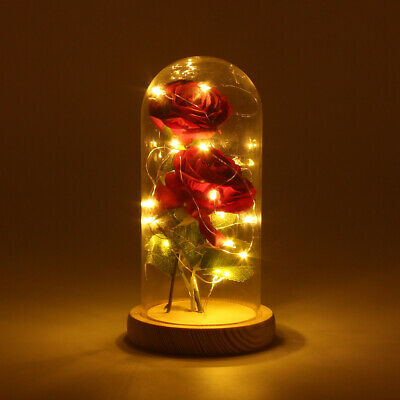 Valentine's Eternal Rose Flower 20 LED Light With Glass Lampshade Romantic Gifts • 7.98£