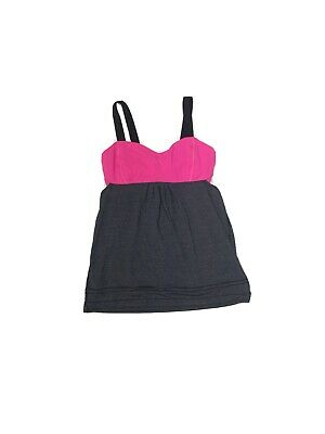 $ CDN31.71 • Buy Lululemon Tank Top Sports Bra Built In Open Sides Black Active Size 10 Hot Pink