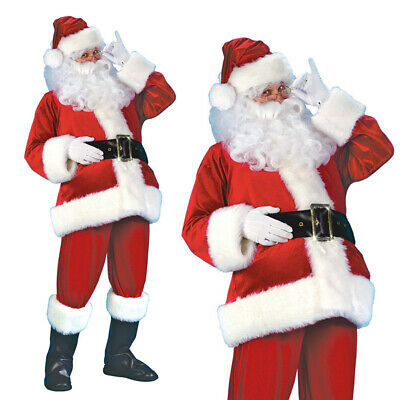 Santa Claus Costume Father Christmas Flannel Suit Mens Adult Fancy Dress Outfit • 23.99£