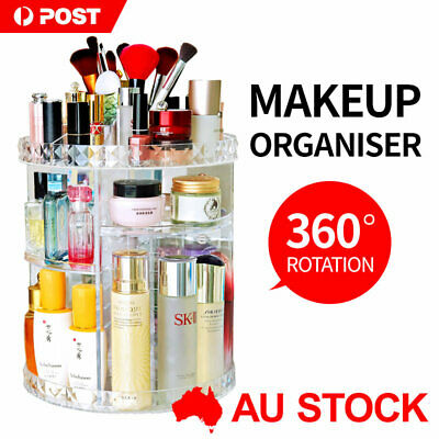 AU25 • Buy 360° Rotating 3-Tier Makeup Organizer Storage Cosmetics Display Stand Box Case