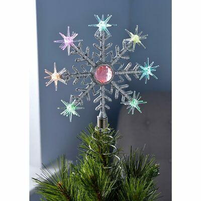 Pre-Lit Snowflake Christmas Tree Topper Decoration 8 Colour Changing Lights 29cm • 11.99£