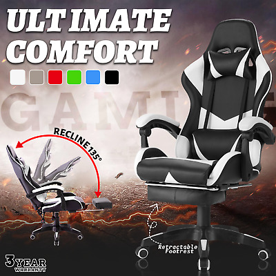 AU26.90 • Buy Gaming Chair Executive Office Computer Racer Recliner PU Leather Seat W/Footrest