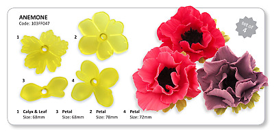 JEM Set Of 4 ANEMONE Flower Icing Cut Out Cutters Sugarcraft Cake Decorating • 7.39£
