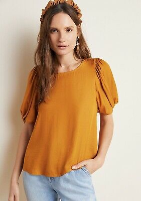 $ CDN49.67 • Buy Anthropologie Puff Sleeve Saffron Blouse Size Large