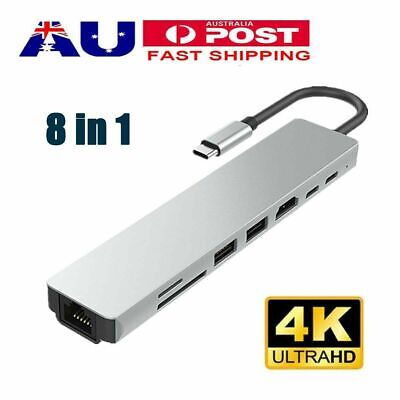 AU35.99 • Buy 8in1 USB-C To Type-C USB 3.1 Hub HDMI RJ45 Ethernet Micro SD TF OTG Adapter New