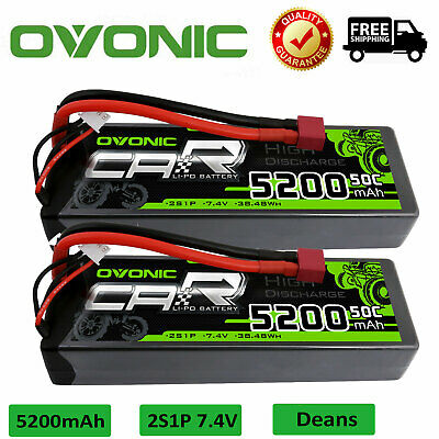$ CDN72.49 • Buy 2X Ovonic 50C 7.4V 5200mAh 2S Lipo Battery Deans T Plug For RC Vehicle Car Truck