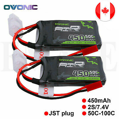 $ CDN25.99 • Buy 2X Ovonic 450mAh 7.4V 50C 2S Lipo Battery JST Plug RC Airplane Helicopter Drone