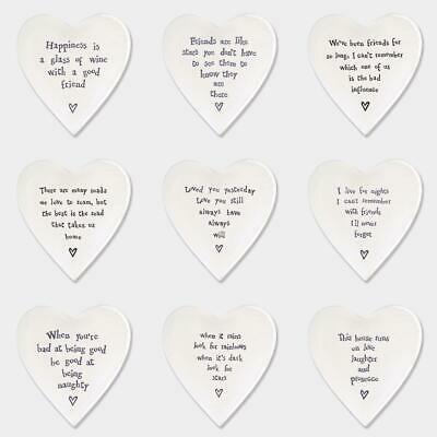 East Of India Porcelain Heart Coaster Padded Keepsake Gift Family Friends Quote • 6.20£