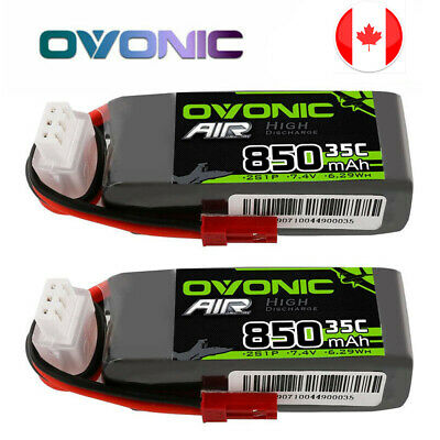 $ CDN27.59 • Buy 2Pcs Ovonic 7.4V 850mAh 2S 35C Lipo Battery JST Plug RC Airplane Quadcopter Heil