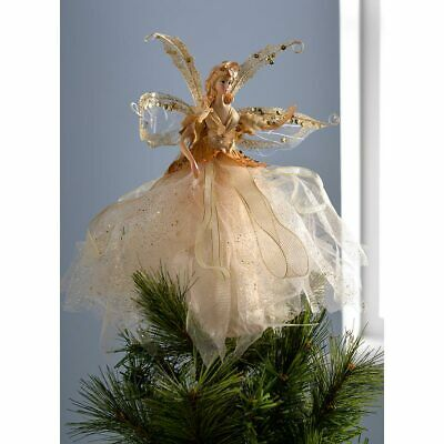 Christmas Fairy Tree Topper Decoration Gold 28cm • 13.99£