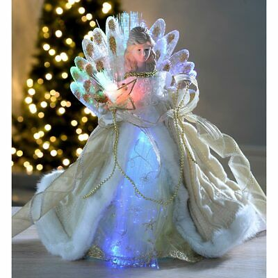 Christmas Angel Tree Topper Decoration With Fibre Optic Lights Gold 30cm • 17.99£