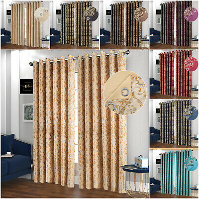 Jacquard Eyelet Curtains Ring Top Fully Lined Semi Blackout Curtains + Tie Backs • 23.99£
