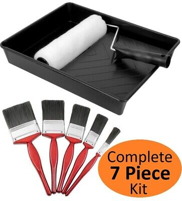 7 Pieces Paint Roller With Tray And 5 X Brushes Set Wall Painting Decoration Kit • 10.99£