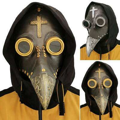 Plague Doctor Mask Halloween Costume Bird Long Nose Beak Steampunk Face Cover • 12.63£