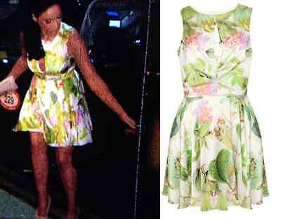 £14.91 • Buy ILWF Green Floral Skater Dress Size 8 Vicky Geordie Shore BNWT In Love Fashion