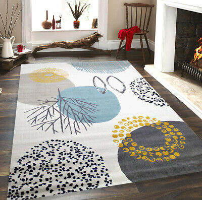 Modern Style Rugs┃Colourful Floral┃Grey, Blue, Cream, Gold & Teal  • 79.99£
