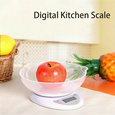 Digital Kitchen Scales 1g-5KG LCD Electronic Cooking Food Measuring Bowl Scale • 6.99£
