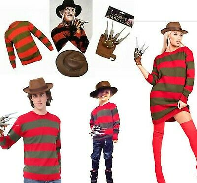 Unisex Kids Freddy Krueger Halloween Horror Fancy Dress Hat Jumper Claw Gloves • 21.99£