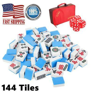 $38.30 • Buy 144 Tiles Chinese Mahjong Set Family Game Travel Outdoor/ Indoor Party Gift Blue