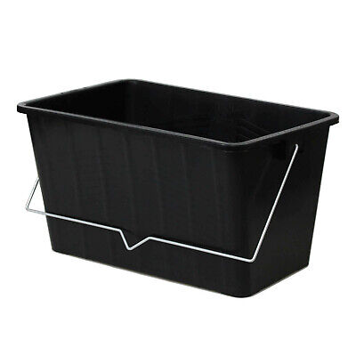 £7.95 • Buy 15L Black Paint Scuttle With Metal Handle Large Rollers Plastic Ribbed Bucket