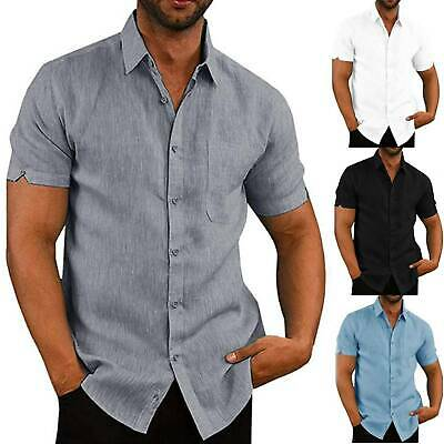Mens Summer Casual Short Sleeve Tunic Tops Plain Slim Shirts Buttons Blouse Top • 10.79£