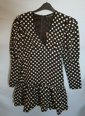 In The Style  Black Polka Dot Long Sleeve Frill Mini Dress - Size 10 • 15£
