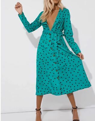 In The Style  Laura Jade Green Polka Dot Long Sleeve Midi Dress - Size 10 • 20£