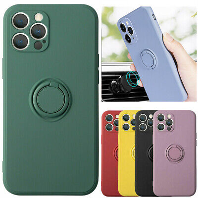 AU8.10 • Buy For IPhone Liquid Silicone Case With Finger Ring Holder Stand Shockproof Cover