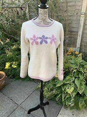 Ladies Pachamama Jumper Wool And Cotton Cream With Pink And Purple Flowers Med • 13.10£