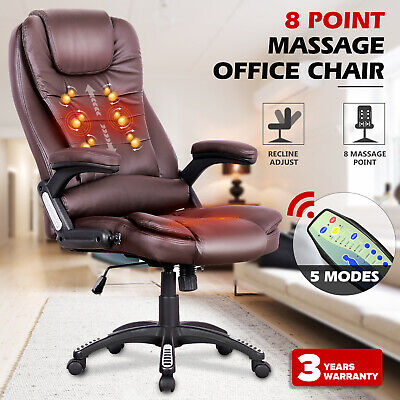 AU169.90 • Buy Executive Office Chair 8 Point Heated Massage Chairs Computer PU Leather Black