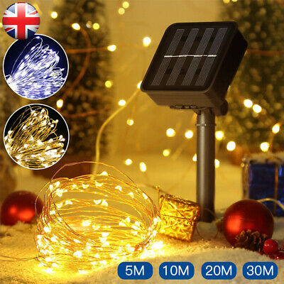 LED Solar String Light Lights Waterproof Copper Wire Fairy Outdoor Garden Party • 6.69£