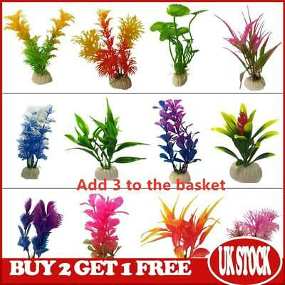 Artificial Aquatic Plants Plastic Aquarium Plant Small Fish Tank Decoration NEW • 2.09£