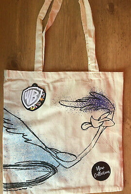 Warner Bros Road Runner Canvas Tote Bag Shopper Wild E Coyote WB TAGS NEW • 5.25£