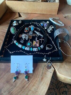$ CDN100.18 • Buy Navajo Old Pawn Sterling Silver Turquoise Jewelry Lot