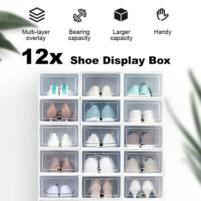 AU27.99 • Buy 12 Transparent Shoe Storage Box Organizer Boxes Stackable Household Drawer