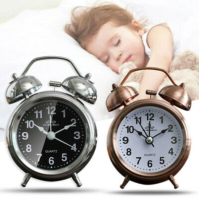 AU17.48 • Buy Retro Loud Double Bell Alarm Clock With Night Light Bedside Home Room Decor New