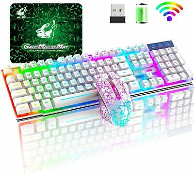 AU61 • Buy Rainbow LED Backlit Wireless Gaming Keyboard And Mouse Sets For PC PS4 Xbox One