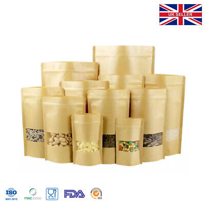 Kraft Paper Re-sealable Bag Pouch With Window Heat Seal Food Grade • 8.99£