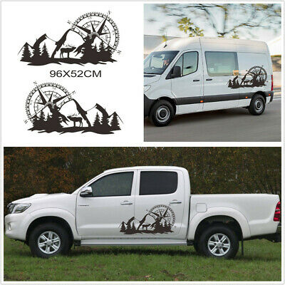 $18.80 • Buy 96x52CM Vinyl Stickers Compass Mountain Graphics Decal Fit For Car Side Body
