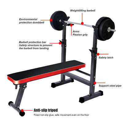 Folding Flat Weight Bench Lifting With Dip Station Body Exercise Home Machine • 76.89£