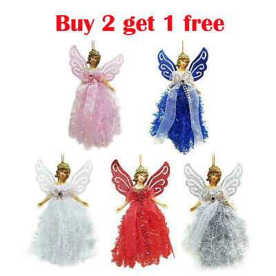 22cm Christmas Angel Fairy Tree Topper Pink Silver Blue Red White Decorations UK • 5.88£