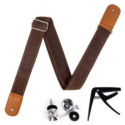 AU16.99 • Buy Ukulele Strap Adjustable Length Leather Straps Light Brown W/Strap Locks Capo